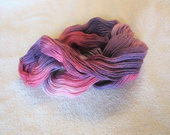 100% Superfine Alpaca - Hand Dyed/Painted - Pink, Vermillion and Purple - 3 Ply Fingering Weight Yarn - 200 Yds - 19-22 WPI