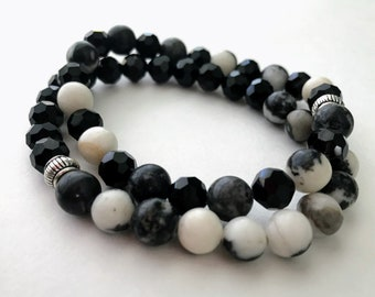 Zebra Stone and Black Glass Bracelet Set