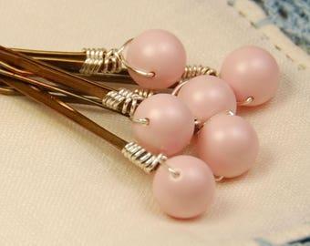 Pink Pearl Bobby Pins, Blush Pastel Pink 8 mm Swarovski  Pearls on Bronze Hair Pins, Set of 6, Wedding Hair Pins, Wedding Hair Accessory