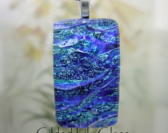 Starry Night Dichroic Glass Pendant, Fused Glass Jewelry Handmade in North Carolina