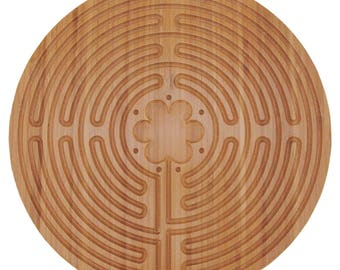 "Bamboo Wood Finger Labyrinth Prayer Maze 12.5"" Diameter Chartres Style 11 Circuit"