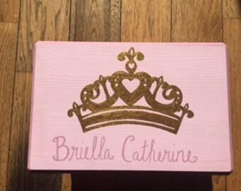 Custom Kid's Handpainted Princess Crown Stool