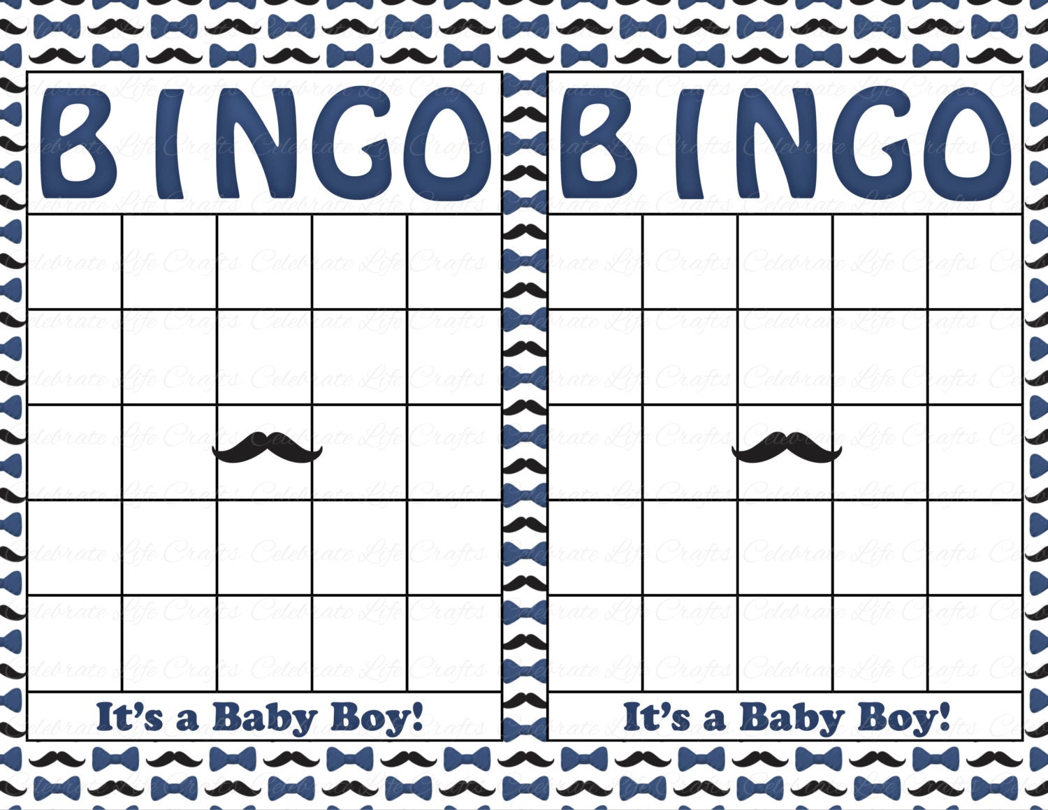 Blank baby shower bingo cards mustache theme printable zoom solutioingenieria Gallery