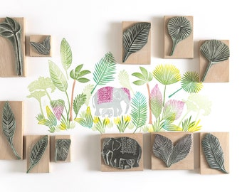 Elephant and Jungle Stamps - Rubber Stamp - Elephant Stamp - Jungle Stamp - Noolibirdstamps - wildlife stamp - Art Stamp - craft stamp