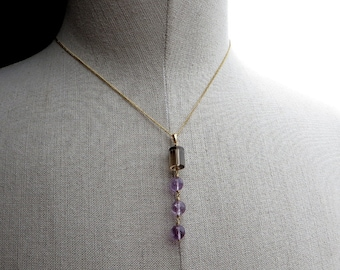 Smoky Quartz and Amethyst Gold Pendant Necklace