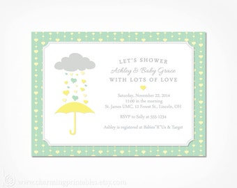 Baby Shower Invitation Neutral - PRINTABLE Gender Neutral Yellow and Grey Mint Green Baby Shower Invite - Umbrella Rain April Showers