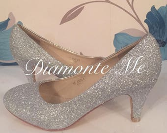 Silver Glitter Heels - Silver - Bridal Shoes - Bridesmaid - Wedding - Prom - Customised Shoes - Sparkle - UK Size 3-8
