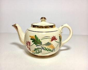 Vintage Teapot Sudlows Burslem England Fall Colors Autumn Leaves Mad Hatter Decor
