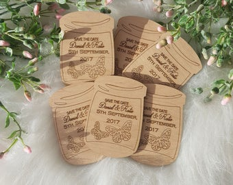 Wedding save the date -  Rustic Wedding - Wood magnet save the date - mason jar