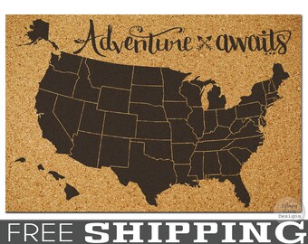 Corkboard map etsy push pin map x large pinnable cork map of the usa gumiabroncs Gallery
