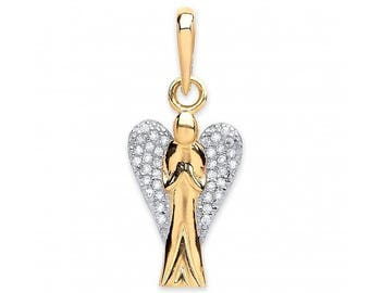 9ct Yellow Gold Guardian Angel Charm Pendant With Cz Wings