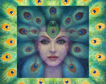 Goddess Isis spiritual art surreal Peacock feather eyes poster print of painting by Sue Halstenberg