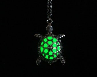 Green Turtle Necklace Glow In The Dark Antique Silver