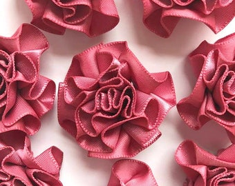 4 Large Dusky Pink Ribbon Ruffle Roses Rosettes Flowers 3.5cm  - Card Making Embellishments Craft Sewing