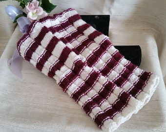 Gloves Red White hand Knitted