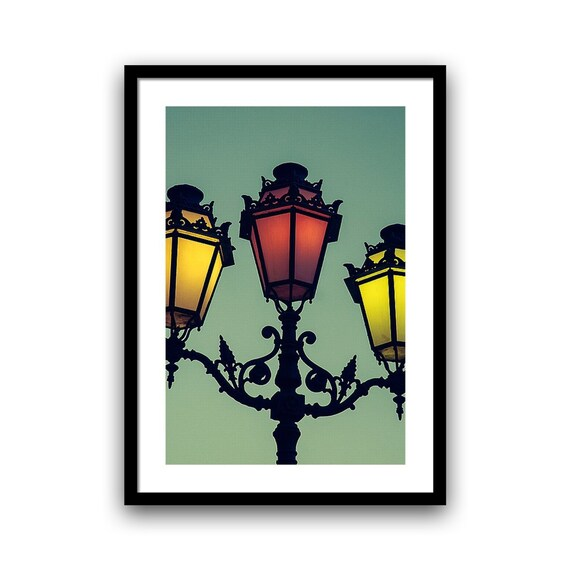 Decorative Wall Art, Lamp Post Photography, Fine Art Photography,5x7 8x10 11x14 Wall Decor, Turquoise Blue Red Yellow