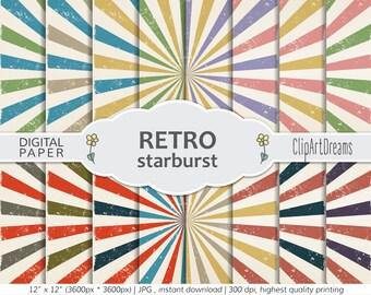Vintage Digital Paper, Multicolour Retro digital paper, Vintage Paper for Digital Scrapbooking,Vintage Textures,Starburst Vintage background
