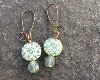 Czech Glass Western Sage Green Dahlia Earrings     Boho Flower Earrings  Woodland Fairy Earrings