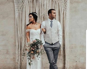 Wedding Backdrop for Ceremony or Photography.  Handmade Macrame by The House Phoenix