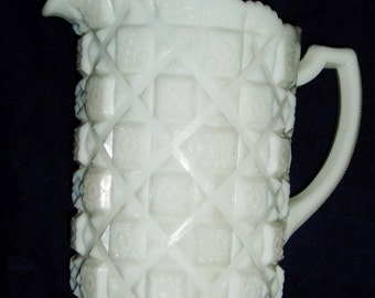 Large Milk Glass Pitcher, Westmoreland Old Quilt