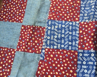 6 vintage quilt squares feedsack fabric