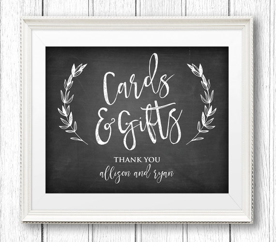 Cards and Gifts Wedding Sign, Instant Download, Editable Text, Rustic Chalkboard Printable Sign, Editable PDF Template, Digital, 8x10 #CH02