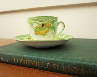 Vintage cup and saucer set in Niagara pattern by Homer Laughlin.