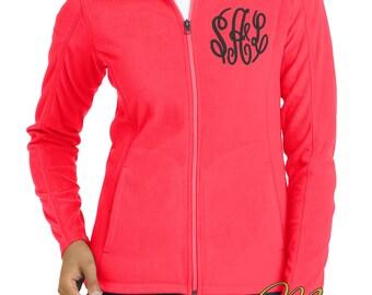 Monogram Full Zip Jacket -Fleece Full Zip-Full Zip Jacket-Personalized Full Zip Jacket -Ladies Jacket -Black Fleece Jacket -Plus Size Jacket