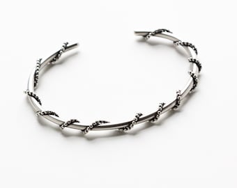 """Unique silver cuff bracelet handmade of sturdy 10 ga silver wire embellished with wrap around beaded wire - """"Encircled Cuff"""""""