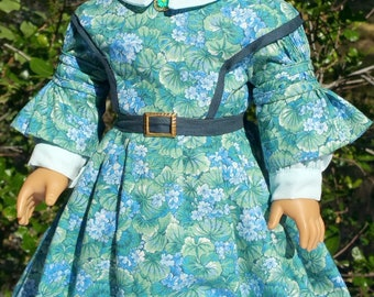 American Girl or 18 Inch Doll Historical 1850's Dress in Green and Blue Floral
