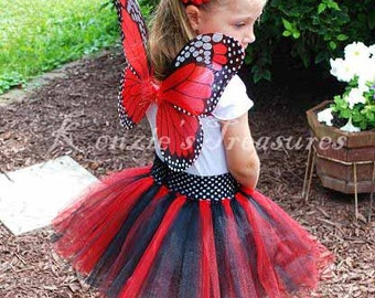 4- Piece Red Monarch Butterfly Tutu Set - Size 6 months - Chid Size 6