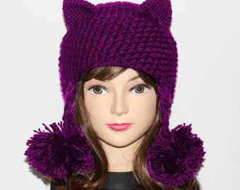 CAT LOVER GIFT, Cat Hat, Cat Ears Hat, Hat Pom Poms, Cat Ears, Cat Beanie, Winter Accessories, Holiday Fashion, Winter Hat