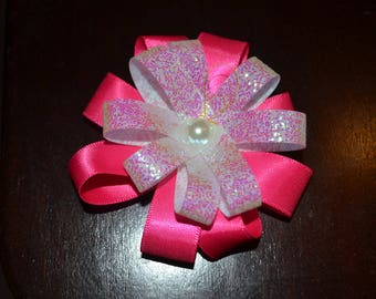 Hot pink and shimmery white Hair pretty bow