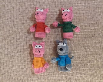 The Three Little Pigs and The Big Bad Wolf finger toys/finger puppets/puppet theater/personalized theatre/puppet theatre/finger boll