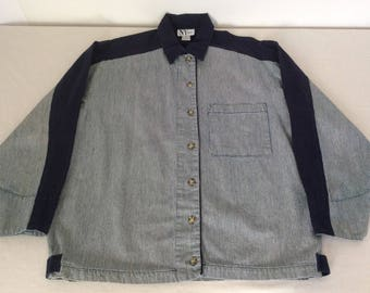 NY Jeans Womens Size Small Vintage Oversized Shirt Jacket Blue Spellout Logo Conductor Stripe