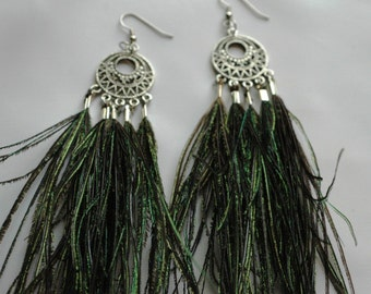 Celtic CircleThe Peacock Feather Drop Dangle Earrings Handmade Christmas Gift Ready to Ship