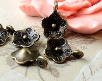 10 x13 mm Antiqued Bronze Flower Charm Pendants