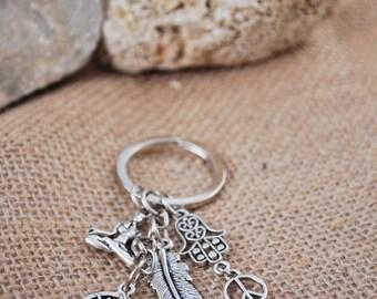 Ohm symbol keychain, silver tone hippie keychain, yoga keychain, hamsa hand keychain,  feather keychain, sun key chain.