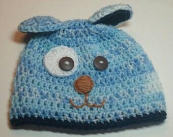 Blue Puppy Baby Hat- 3-6 mos.