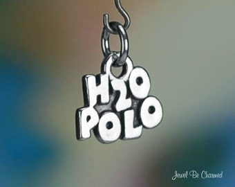 Sterling Silver Water Polo Charm H20 Competitive Team Sport Solid .925