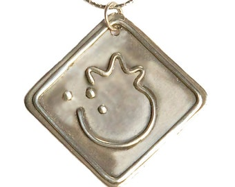 """Sterling Silver """"God is Love"""" pomegranate pendant - pd013"""