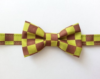 Bow tie for boy green and Brown checkered