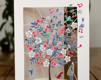 Music and Man Greeting Card - luxury laser cut-out -made in England