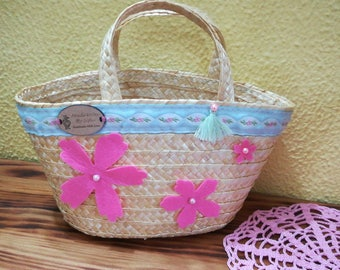 Child Carrycot, carrycot, straw basket, child bag, Handmade bag, small basket, Portuguese handicraft, Made in Portugal