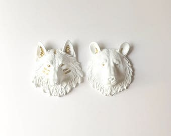 Set of 2 WHITE GOLD SMALL Wolf + Bear Head Wall Mounts Faux Taxidermy wall hangings White Wolf and White Bear with gold details Woodland