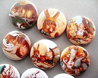 10 Alice in Wonderland Fridge Magnets - the Animals 1177