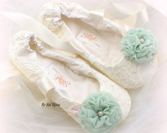 Mint Wedding Ballet Shoes, Vintage Style Shoes, Ivory Wedding Shoes, Bridal Ballet Shoes,Wedding Ballet Flats, Ballet Slippers