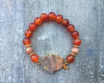 Druzy Agate & Orange Moonstone Beaded Bracelet