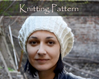 KNITTING PATTERN - Ribbed Hat Pattern Knit Slouchy Cap Knit Beanie Pattern Womens Hat Knitting Pattern (Child, Teen, Adult) PDF - P0057