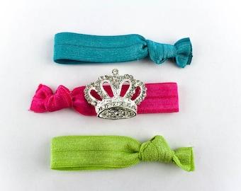 Princess Crown Hair Tie Set - 3 Rhinestone and Elastic Hair Ties that Double as Bracelets